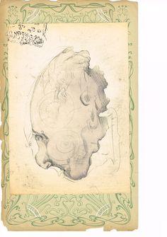 Zeichnung, Mischtechnik auf Papier, aufgeklebt auf Ornamentpapier, 21 x 29,5, 1983?, 580,- EURO, Anfragen an Britta Kremke, management@carlocazals.com