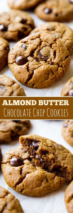 5 Ingredient Flourless Almond Butter Chocolate Chip Cookies - substitute with coconut sugar for paleo Keto Cookies, Almond Butter Cookies, Gluten Free Chocolate Chip Cookies, Gluten Free Cookies, Cookies Et Biscuits, Recipes With Almond Butter, Chocolate Almond Butter Recipe, Flourless Peanut Butter Cookies, Cashew Butter