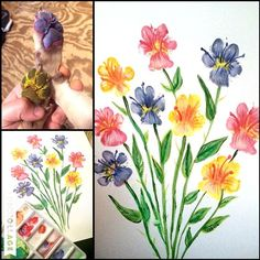 Make an adorable keepsake of your pup using watercolors or washable paint! Turn their sweet little paw prints into flowers. Make sure you rinse their paws thoroughly after painting and stamping them on a piece of paper though! This idea came from LJwho let me share her cutie! Make any colored flowers you want and …