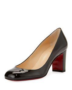 Cadrilla Patent Block-Heel Red Sole Pump