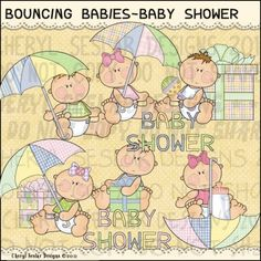 Bouncing Babies Baby Shower 1 - Clip Art by Cheryl Seslar
