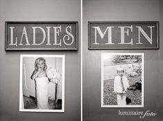 cute idea to put pictures of the bride and groom when they were little outside the bathrooms