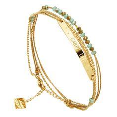 Bracelet multi-tours Carpe Diem Zag bijoux (doré/vert d'eau)