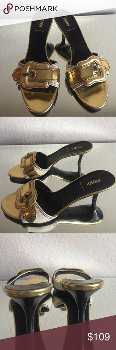 💯 Authentic Fendi gold buckle sandals 👠 From my collection. In great condition. Size 38 ... 100% Authentic. No box.  Comes with dustbag. Heel height 3 inches.  No trades. Fendi Shoes Heels
