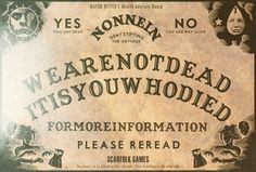 """SATIRE: Scarfolk Council: The """"Nonnein"""" Wraith Advisory Board (1970). .Similar to the Ouija Board, the """"Nonnein"""" Wraith Advisory Board was released by Scarfolk Games in 1970. The main difference between the two boards was that the latter gave the deceased more control over their messages.  Happy Halloween from Scarfolk Council."""