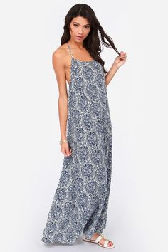 Good Morning Starshine Blue Print Maxi Dress at LuLus.com!