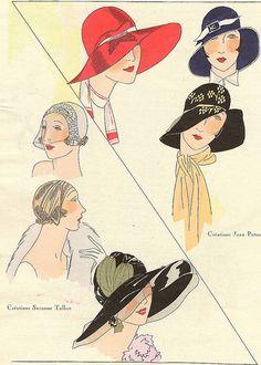 """Hats ad, """"Art Goût Beauté"""" magazine, July 1929,"""