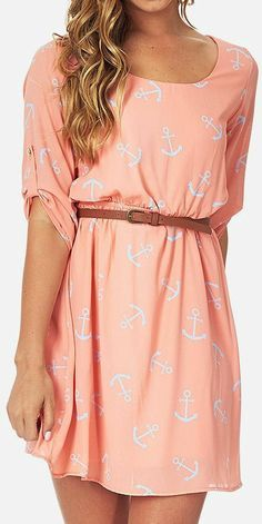 Peach dress with a leather belt, summer 2014 -- http://www.shoppinkblush.com/p-8208-peach-blue-anchor-printed-dress.aspx