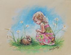 Bunny Print art Nursery Print girl fine art by LaurieShanholtzer, $16.00