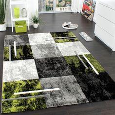 Designer Teppich Wohnzimmer Teppiche Kurzflor Meliert Grün Grau ... Teppich Wohnzimmer Grun