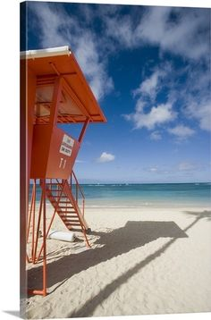 M Swiet Productions Solid-Faced Canvas Print Wall Art Print entitled Hawaii, Oahu, Waikiki Beach, Lifeguard Tower Framed Wall Art, Canvas Wall Art, Wall Art Prints, Poster Prints, Canvas Prints, Waikiki Beach, Oahu Hawaii, Irish Images, Beach Lifeguard