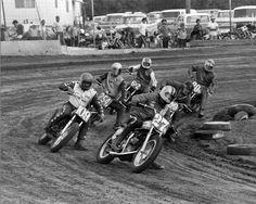 Vintage Flat Track Racing Flat Track Motorcycle, Flat Track Racing, Motorcycle Racers, Classic Bikes, Classic Cars, European Motorcycles, Underground Garage, Flat Tracker