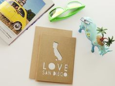 LOVE San Diego Handmade Card - Simple and Minimalist | Corazones de Papel Stationery