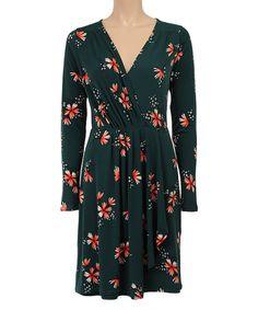 Look what I found on #zulily! Louie et Lucie Rock Green Floral Surplice Dress by Louie et Lucie #zulilyfinds