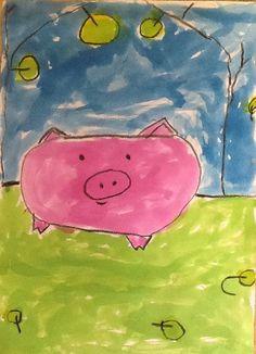 Boerderij kleuters varken verven wasco en ecoline Wolf, Farm Unit, Three Little Pigs, Farm Theme, Roald Dahl, Animal Kingdom, Pikachu, Snoopy, Artwork