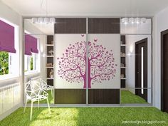 Awesome Tree Decal Wardrobe in White and Purple Girls Bedroom with Grass Synthetic Rug by Irako Design
