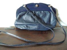 Vintage Navy Blue Leather Crossbody bag// Handbag// by altastyles, $15.00