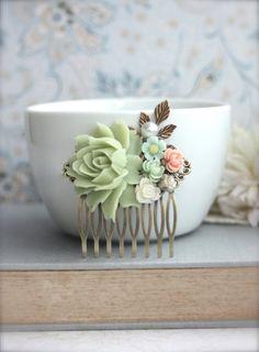 Soft Green Pink Mint Ivory Pearl Brass Leaf Floral by Marolsha, $25.00