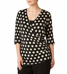 Spot Print Wrap Jersey Top | Plus Size Clothing for Women Sizes 12 to 24 Womens Fashion Online Shopping | Maggie T 2013