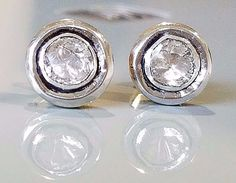 1.90ct Natural Poki Diamond 14k & 925 Sterling Silver Bezel Set Post Earrings  #Stud