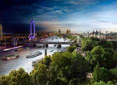 London bei Tag und Nacht in einem einzigen Bild: Blick vom Savoy Hotel auf die Themse #london #barefoottraveldesign