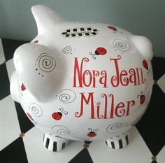 Hey, I found this really awesome Etsy listing at https://www.etsy.com/listing/59938583/ladybugs-personalized-piggy-bank-large