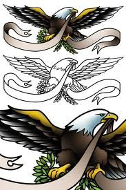 designed this sailor Jerry style eagle tattoo flash for Werner De . Sleeve Tattoos For Women, Arm Tattoos For Guys, Trendy Tattoos, New Tattoos, Eagle Chest Tattoo, Eagle Tattoos, Wolf Tattoos, Eagle Art, Ribbon Tattoos