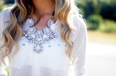 Fancy - Pink Crystal Necklace by Zara on We Heart It Maxi Collar, Boutique Fashion, Floral Necklace, Crystal Necklace, Hair Necklace, Resin Necklace, White Necklace, Earrings, Passion For Fashion