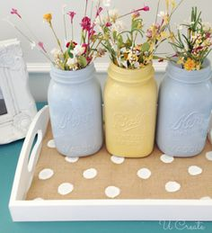 Burlap Polka Dot Tray Tutorial - spring mantel ideas!