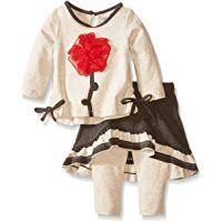 Rare Editions Baby Baby-Girls Newborn Flower Applique Knit Legging Set