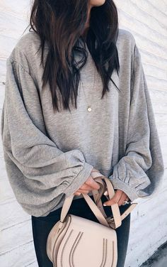 #spring #outfits grey blouse, dark jeans