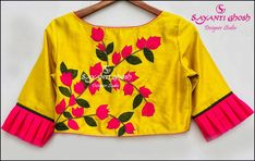New fav New Saree Blouse Designs, Choli Blouse Design, Bridal Blouse Designs, Blouse Styles, Cotton Saree Blouse, Stylish Blouse Design, Designer Blouse Patterns, Blouse Models, Embroidered Blouse