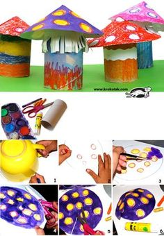 MUSHROOMS - toilet paper roll craft for kids