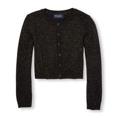 Girls Long Sleeve Shimmer Button-Down Cardigan