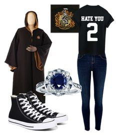 """Hufflepuff Outfit"" by fangirlmendes on Polyvore featuring River Island, Converse and Kobelli"