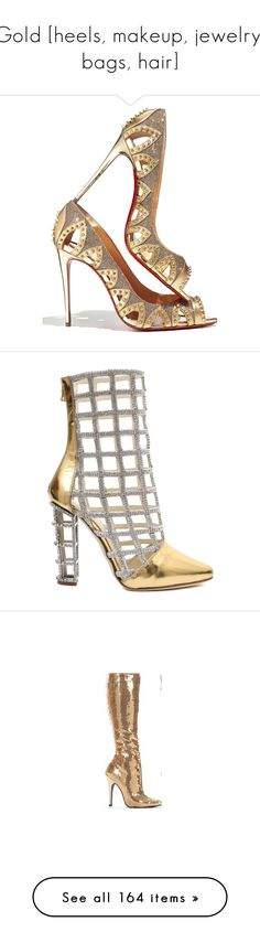 """""""Gold [heels, makeup, jewelry, bags, hair]"""" by pynkk ❤ liked on Polyvore featuring shoes, pumps, heels, red sole pumps, red pumps, christian louboutin shoes, christian louboutin pumps, red peep toe pumps, boots and scarpe"""