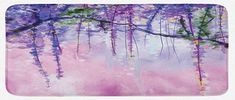 Ambesonne Watercolor Flower Kitchen Mat, Wisteria Flowers on Blurred Background with Dreamy Colors, Plush Decorative Kithcen Mat with Non Slip Backing, 47 W X 19 L Inches, Purple Pale Pink Green
