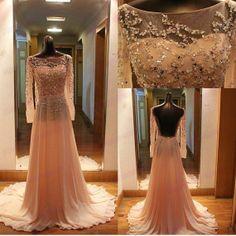 Handmade Scoop Prom Dress,Long Chiffon Prom Dress,Long Sleeves Wedding Dress,A-line Wedding Dress, Beading Wedding Gowns Custom Made