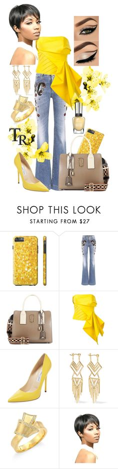 Spring in Yellow by mariana-cufari on Polyvore featuring moda, Rubin Singer, Roberto Cavalli, Jimmy Choo, Marc Jacobs, Carelle, Noir Jewelry, WithChic and Sally Hansen