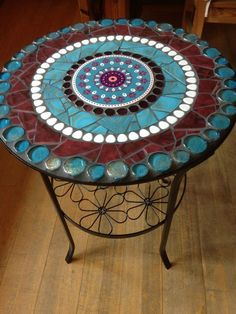 Best 12 Side Tables Mosaic table side table garden bistro table a unique product by Scherbenkiste on DaWanda Mosaic Outdoor Table, Mosaic Tile Table, Mosaic Coffee Table, Outdoor Table Tops, Tile Tables, Mosaic Tile Art, Mosaic Crafts, Mosaic Projects, Mosaic Glass