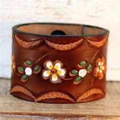 Leather Cuff Bracelet Handmade from a Vintage Belt - $55 - http://www.rainwheel.etsy.com