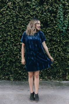 Crinkled Velvet Tunic Dress