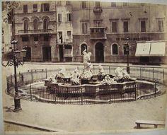 Piazza Navona Fontana nuova dei Calderari (Fontana del Nettuno) 1880