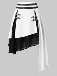 Faux Leather Chiffon Women Skirts High Waist Contrast Asymmetrical Skirt Folk Layer Buckle Gothic Skirts Size L Color Milk White Dress Outfits, Cool Outfits, Fashion Dresses, Skirt Fashion, Dress Shoes, Maxi Dresses, Club Dresses, Formal Dresses, Party Dresses