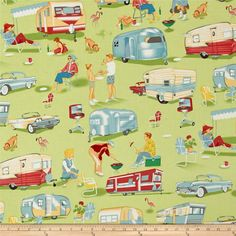 Michael Miller Trailer Travel Camp Multi from @fabricdotcom  Designed for Michael Miller, this retro fabric features an allover design of scenes from a trailer camp and is perfect for quilting and craft projects as well as apparel and home decor accents. Colors include turquoise, silver, coral, white and yellow on a green background.