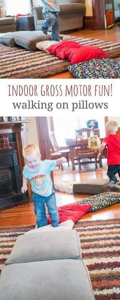 Gross Motor Activity for a Rainy Day: Walking on Pillows via @handsonaswegrow
