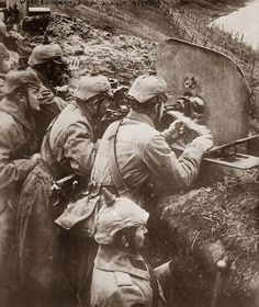 German Maxim machine guns in the trenches