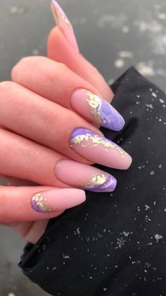 Purple Acrylic Nails, Acrylic Nails Coffin Short, Square Acrylic Nails, Best Acrylic Nails, Purple Nails, Edgy Nails, Oval Nails, Stylish Nails, Trendy Nails