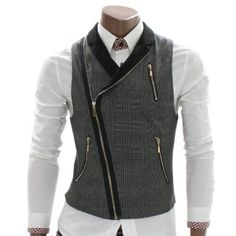 Doublju Mens Checks Zip up Vest Waistcoat (AV3) $39.97 Amazon.com