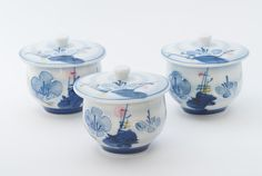 Pottery. Three Chawanmushi Cups. Japanese Covered by AnneTweekes